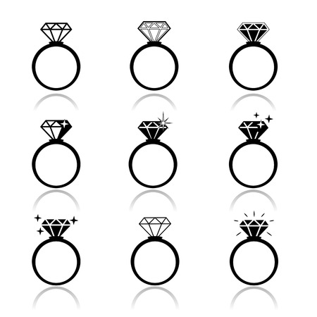 Wedding rings vector icon  Wedding invitation  Jewelry Ilustração