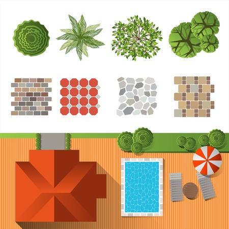 mimari ve binalar: Detaylı peyzaj tasarım öğeleri kendi planı Üstten görünüm olun