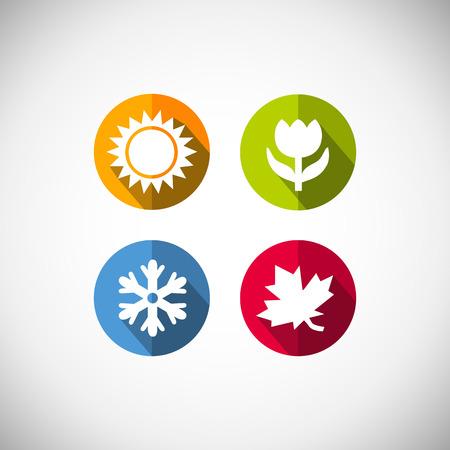 상징: 사계절 아이콘 기호 벡터 일러스트 레이 션 날씨