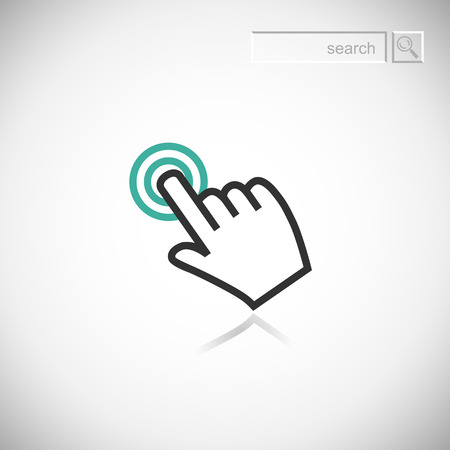 ring finger: Sign emblem vector illustration  Hand with touching a button or pointing finger