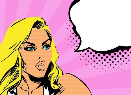 ironic: Scared Woman  Ironic Satirical Illustration of a Retro Classic Comics Illustration