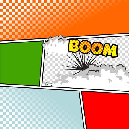 historietas: Vector maqueta de una página típica del cómic con varios globos de texto, símbolos y colores Fondos de semitono Vectores