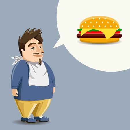 starving: Fast food, burger   hamburger  , full mouth  Funny guy
