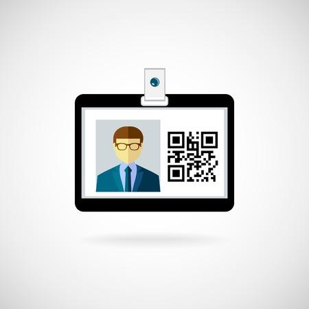 lanyard: Icono de la tarjeta de identificaci�n ilustraci�n vectorial Cord�n visitante