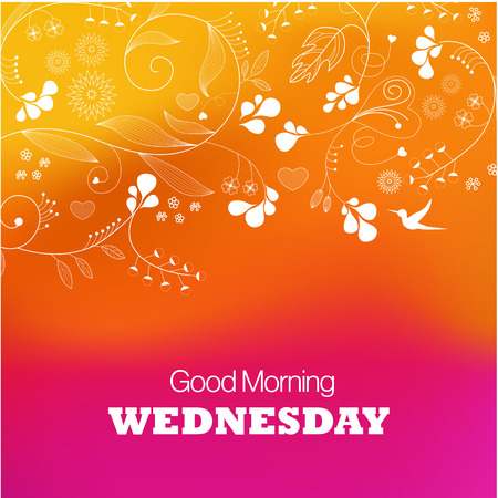 Days of the Week  Wednesday  Text good morning Wednesday on a purple background Vector