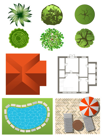 Detailed landscape design elements. Make your own plan. Top view Vector
