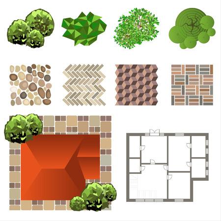 Detailed landscape design elements. Make your own plan. Top view Illustration