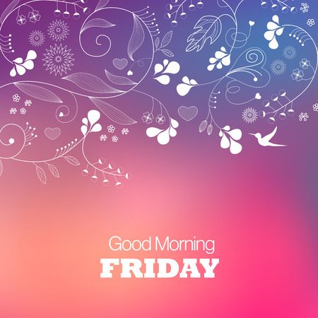 Days of the Week. Friday. Text good morning Friday on a brown background Vector