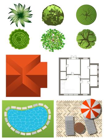 lawn: Gedetailleerde landschap design elementen. Maak je eigen plan. Bovenaanzicht Stock Illustratie