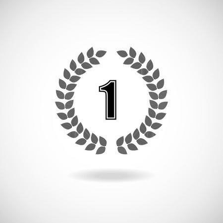 wreath collection: Vector silhouette winner icon or number 1 sign with a circular laurel wreath