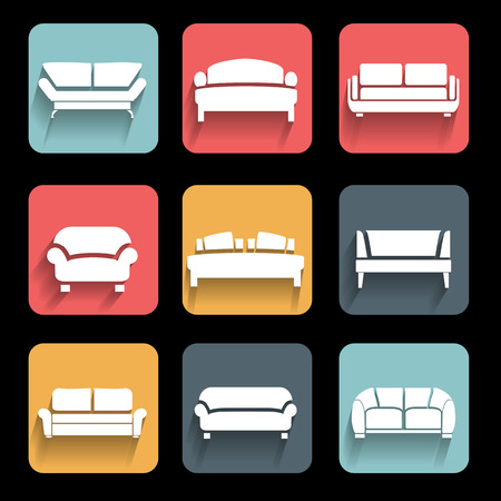 sofa: sofa icons set  Interior Design  Vector