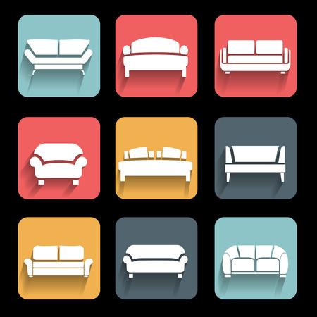 sofa icons set  Interior Design  Vector