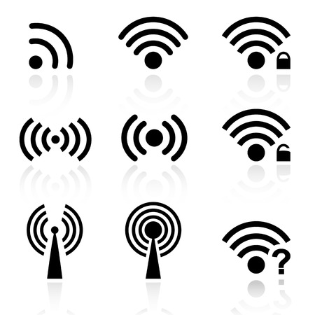 wi fi icon: Set of black wireless and wifi icons