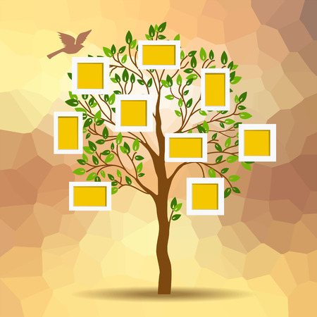 collage art: Family tree design, insert photos into frames