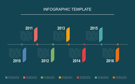 global settings: Timeline Infographic template with charts and text for your business Illustration