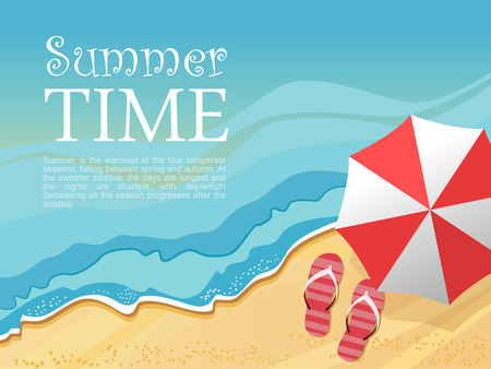 flip flop: Summertime traveling template with beach summer accessories, illustration.