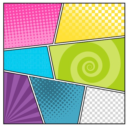 Comics pop art style blank layout template with clouds beams and dots pattern
