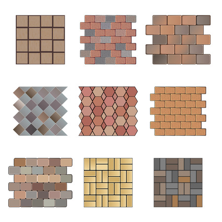 Detailed landscape design elements. Make your own plan. Top view. Paving stone