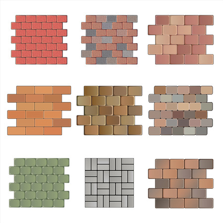 Detailed landscape design elements. Make your own plan. Top view. Paving stone Vector