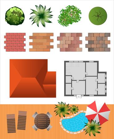 bovenaanzicht plant: Gedetailleerde landschap design elementen. Maak je eigen plan. Bovenaanzicht Stock Illustratie
