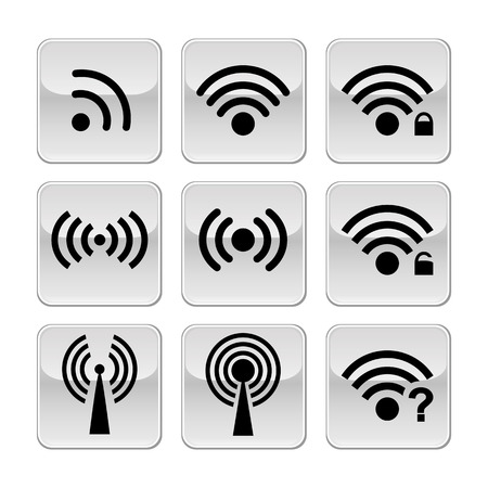 remote access: Set black vector wireless and wifi icons for remote access and communication via radio waves