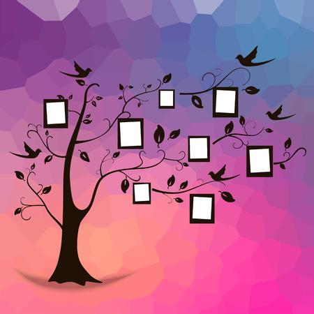 ¡rboles con pajaros: Diseño del árbol de familia, inserta sus fotos en marcos. Vectores