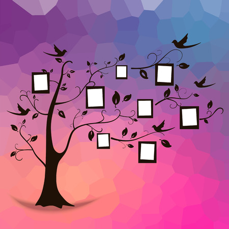collage art: Family tree design, insert your photos into frames.  Illustration