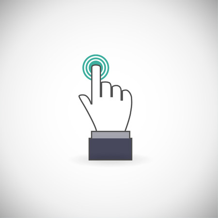 ring finger: Sign emblem vector illustration. Hand with touching a button or pointing finger.