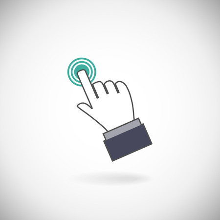 cursor hand: Sign emblem vector illustration. Hand with touching a button or pointing finger.