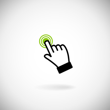 click here icon: Sign emblem illustration.