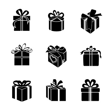 bows: Gift box � Vector icon. Silhouette on white background.