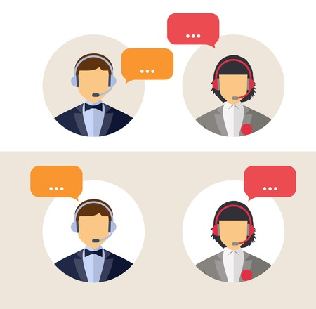 call center office: Call center operator with headset web icon. Vector. Male and female call center avatar icons. Client services and communication