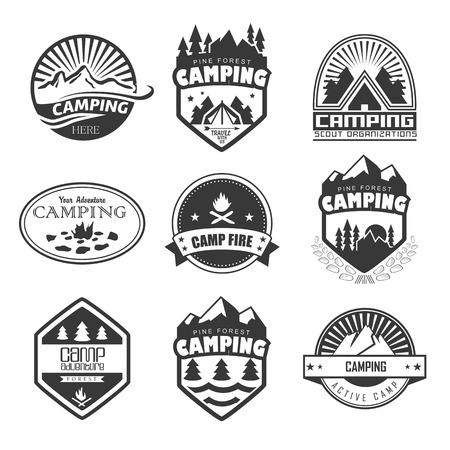 Set of retro badges and label logo graphics. Camping badges and travel logo emblems Illustration