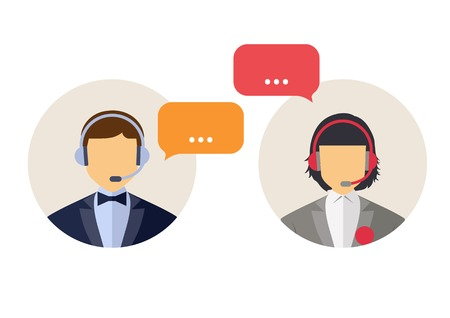 call center icon: Call center operator with headset web icon. Vector. Male and female call center avatar icons. Client services and communication