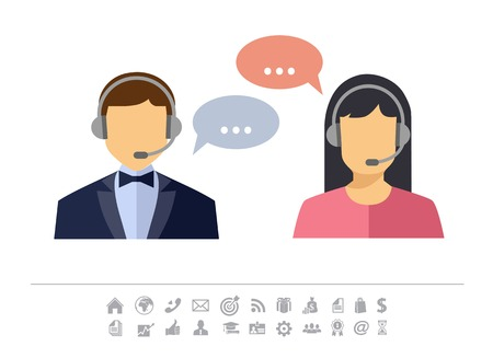 call center agent: Call center operator with headset web icon. Vector. Male and female call center avatar icons. Client services and communication