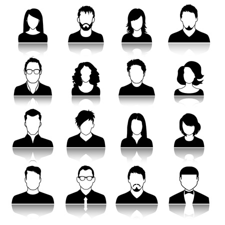 Set of web user icons. Vector illustration. Silhouette of man and woman  イラスト・ベクター素材