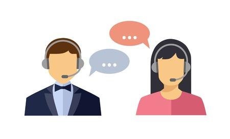 Call center operator met headset web pictogram. Vector. Mannelijke en vrouwelijke call center avatar pictogrammen. Client services en communicatie Stock Illustratie