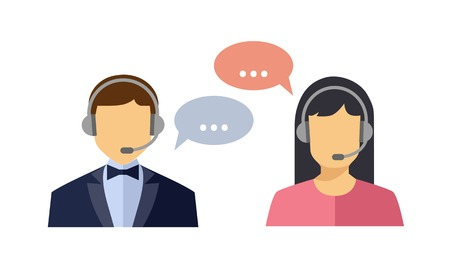 service: Call center operator with headset web icon. Vector. Male and female call center avatar icons. Client services and communication
