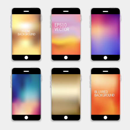 mobile phone: Collection of Technology Wallpaper Designs. Set of Mobile Phones Blurred Backgrounds.  Abstract Vector Illustrations. Illustration
