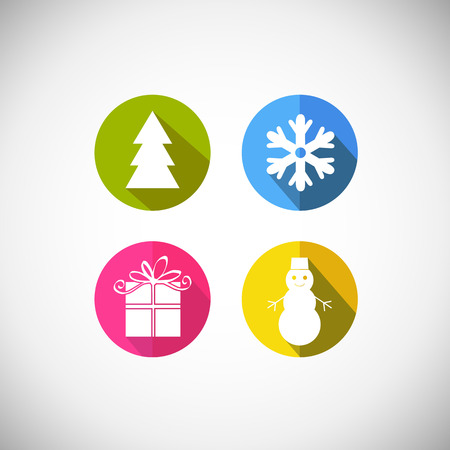x mas parties: Set of stickers and badges icons for New Year and Christmas.