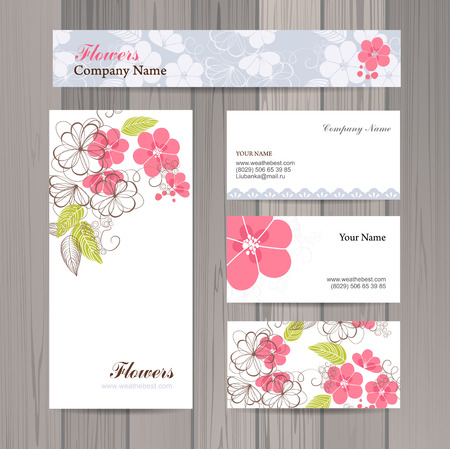 company name: Set of business card and invitation card template. Vector background.  Vintage design elements. Wedding