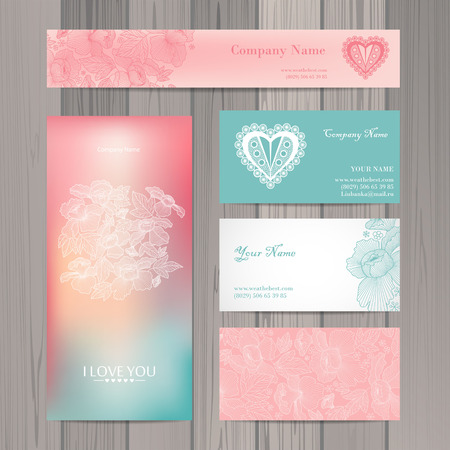 Set of business card and invitation card template. Vector background.  Vintage design elements. Wedding