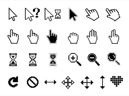 poke': Hand, magnifier  and  hourglass. Collection vector icons