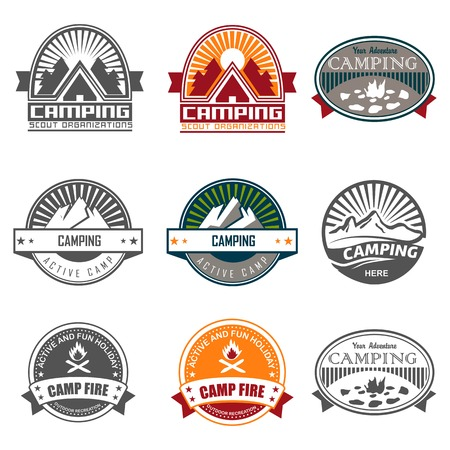 Camping logo, labels and badges. Travel emblems Vector