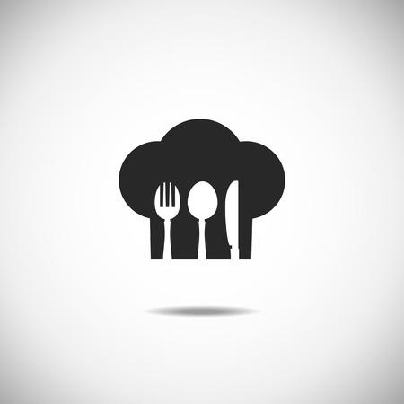 レストランとメニューのシンボル。カトラリーのベクトル図です。スプーン プレート ナイフ フォーク  イラスト・ベクター素材