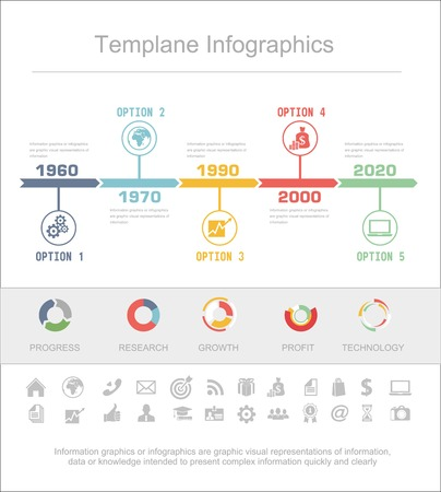 Business Timeline Infographics vector design template for financial reports, website, infographic statistics. Vector