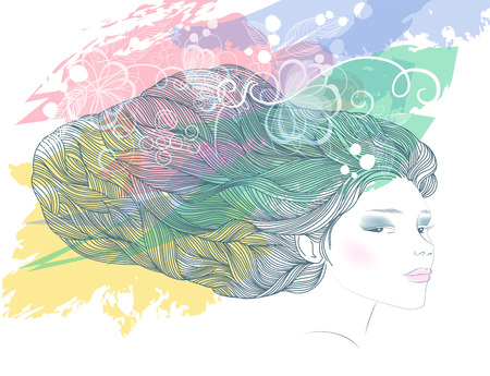 nature woman: Beautiful fashion woman with abstract hair and flowers