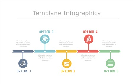 Business Timeline Infographics vector design template for financial reports, website, infographic statistics. Ilustração