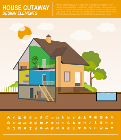 House template infographics. Modern House Interior Cutaway. landscape Vector