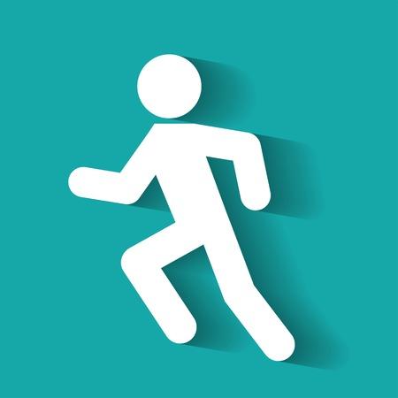 black man: Man running icon. Racing Jogging Running Walking. Illustration